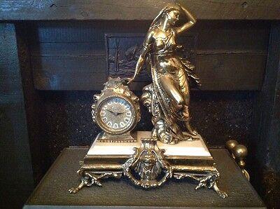 Antique French Ormolu Empire Goddess Bronze Marble Barrel Mantel Clock 3