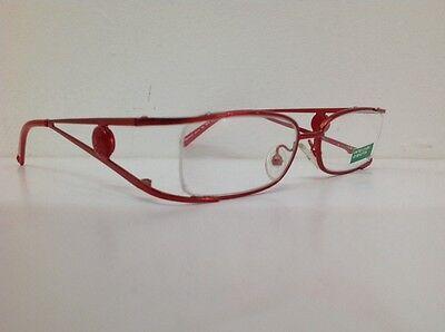 Benetton Occhiale Da Vista Metallo Mod Asta036 Largo Cm11,1 Asta Doppia Rosso 10