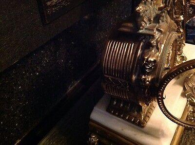 Antique French Ormolu Empire Goddess Bronze Marble Barrel Mantel Clock 6