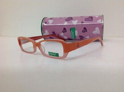 Occhiale vista Benetton Mod 01481 largo 12,3 cm Bianco bambina Arancione Glitter 2