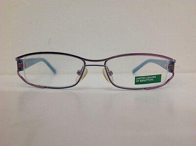 Occhiale da vista Benetton Mod 024 largo 11cm metallo celeste plastica rosa 3