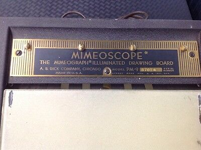 Vintage A.b. Dick Co. Mimeoscope Illuminated Drawing Board Pm-9 Light Table