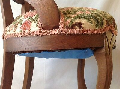 Antique Victorian Carved Balloon Back Chair Walnut w Chenille Upholstered Seat 10