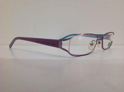 Occhiale da vista Benetton Mod 024 largo 11cm metallo celeste plastica rosa 9