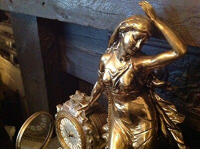 Antique French Ormolu Empire Goddess Bronze Marble Barrel Mantel Clock 8