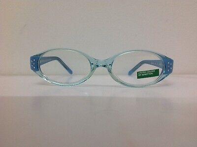 Occhiale da vista Benetton Mod 015 largo 11,5 cm Bianco Strass bambina Celeste 3