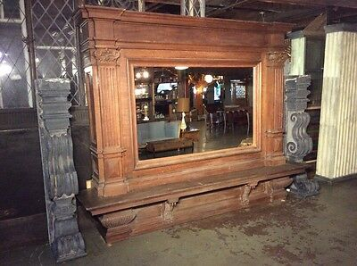 Enormous Carved Oak and Granite Fireplace Mantel with Mirror from Belgium #7713 12