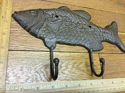 Large 10-3/4 FISH COAT HOOK Cast Iron Rustic Antique Vintage Style Wall Hat Rack 3