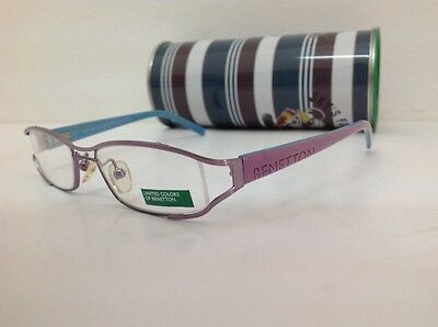 Occhiale da vista Benetton Mod 024 largo 11cm metallo celeste plastica rosa 2