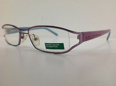 Occhiale da vista Benetton Mod 024 largo 11cm metallo celeste plastica rosa 11