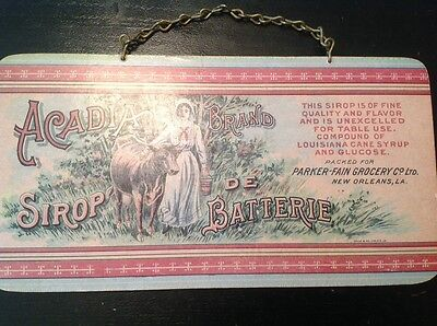 Vintage Acadia Brand Sirop De Batterie Wooden Advertising Sign 4