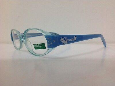 Occhiale da vista Benetton Mod 015 largo 11,5 cm Bianco Strass bambina Celeste 8