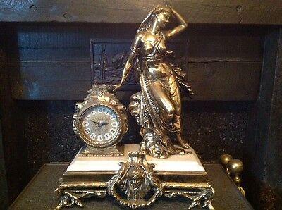 Antique French Ormolu Empire Goddess Bronze Marble Barrel Mantel Clock 12