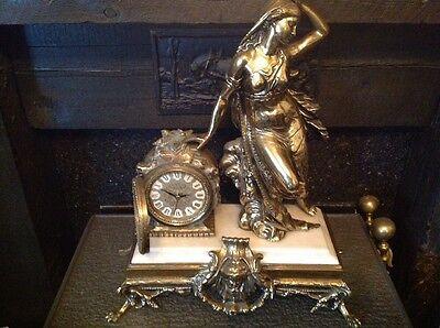 Antique French Ormolu Empire Goddess Bronze Marble Barrel Mantel Clock 4