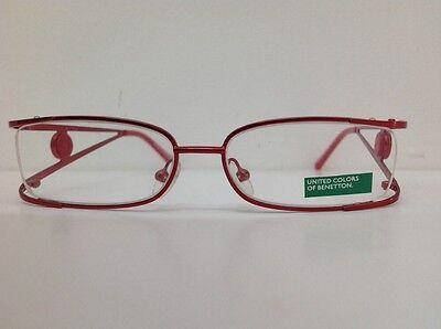 Benetton Occhiale Da Vista Metallo Mod Asta036 Largo Cm11,1 Asta Doppia Rosso 4