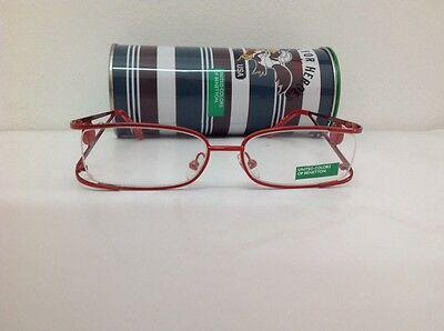 Benetton Occhiale Da Vista Metallo Mod Asta036 Largo Cm11,1 Asta Doppia Rosso 3
