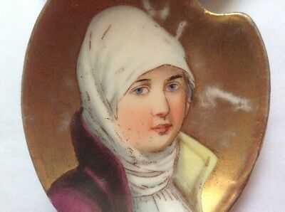 Antique Hand Painted Portrait Butter Pat w Gold c1800, p255  GREAT GIFT IDEA!!
