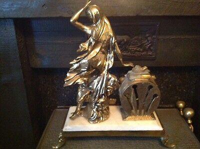 Antique French Ormolu Empire Goddess Bronze Marble Barrel Mantel Clock 9