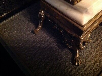 Antique French Ormolu Empire Goddess Bronze Marble Barrel Mantel Clock 5