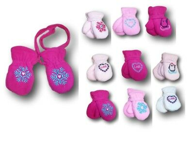 Baby Girl Toddler Children Winter Fleece Mittens Gloves With String Size1-3Years