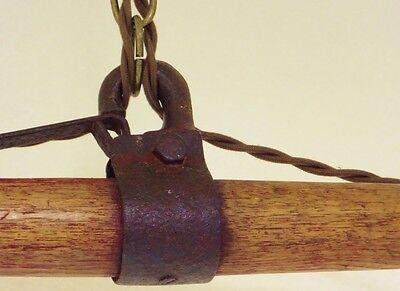Vintage Industrial Chandelier Fused Glass Shades Horse Evener Wood Cast Iron 7
