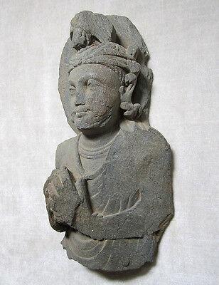 ANCIENT GANDHARAN SCHIST STONE SCULPTURE BUST OF BODHISATTVA, circa 200 AD 4