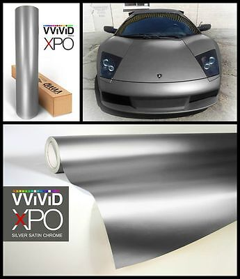 XPO Silver Satin Chrome Film Vvivid vinyl car wrap decal detail sticker mirror