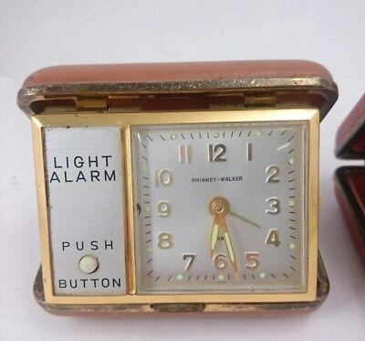 Vintage SETH THOMAS PHINNEY WALKER Light Alarm Portable Clasp Pocket Clock Pair 2