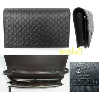 be602ee6475b 1 of 4 GUCCI black MICRO GUCCISSIMA embossed wallet with strap MINI bag NIB  Authentic! 3