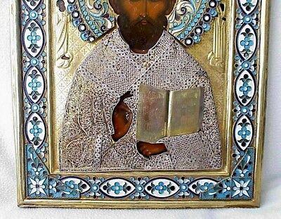 19c. RUSSIAN IMPERIAL GOLD ICON ORTHODOX BISHOP NICOLAS MYRA WOOD EGG TEMPERA 6