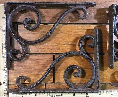 4 Ornate SHELF BRACKETS 6-1/2x4-3/4 Wall Corbels rustic cast iron antique style 4