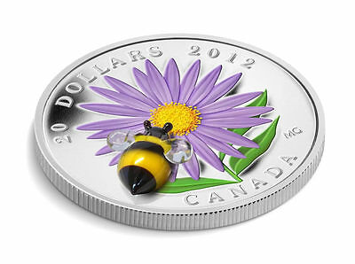 Canada $20 Fine Silver Coin - Aster with Venetian Glass Bumble Bee (2012) 3