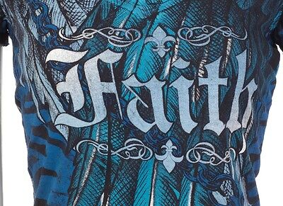 1d689a534b1 2 of 8 ARCHAIC by AFFLICTION Womens T-Shirt ACTIVE FAITH Wings BLACK BLUE  Sinful  40