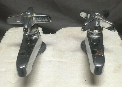 Pair Chrome Separate Hot Cold Cross Handle Faucets Vintage 199-19L 3