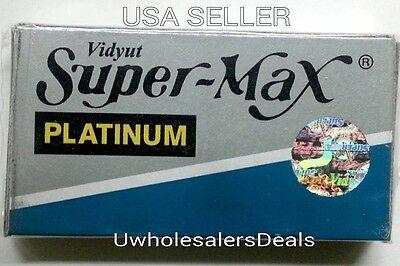50 Super Max Platinum Double Edge Shaving Razor Blades Barber Shave - New