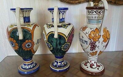 """3 alte Apotheken Amphoren Henkel Vase """"O Juniperi"""" Granada Handgemalt  Vintage 3"""