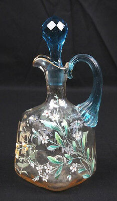 Rare 1880's New England Glass Hand-blown, Hand-painted Cordial Decanter & 2 Cups 4
