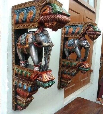 Elephant Wall Corbel Pair Handcarved Wooden Bracket Sculpture Estate Home Decor 3