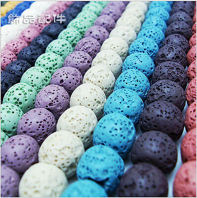 Natural Stone Volcano Lava Round Loose Beads For DIY Jewelry Making 6-14MM New