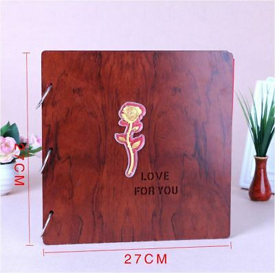DIY 27cm Square Beige Wood Cover 3Ring Photo Album Wedding Scrapbook 18KGP ROSE 2