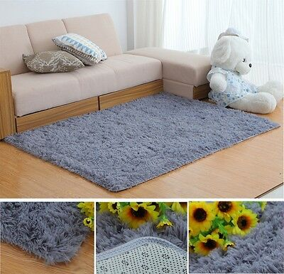 Fluffy Rugs Anti-Skid Shaggy Area Rug Dining Room Carpet Floor Mat Home Bedroom 3