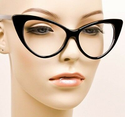 a302d9bbb8d0 ... SEXY Cat Eye Glossy Black Pin Up Fashion Clear Eye Glasses Hot Diva Frames  1377 2