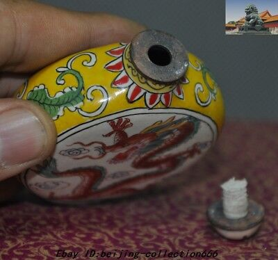 """3"""" Marked China Dynasty bronze Cloisonne animal Dragon Loong snuff bottle statue 6"""