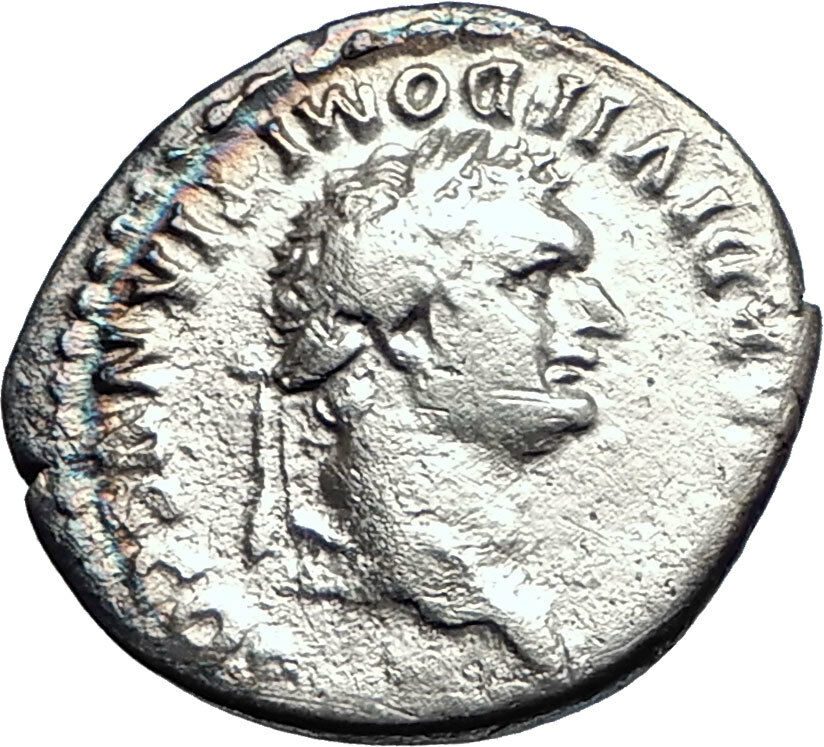 DOMITIAN son of Vespasian 80AD Silver Ancient Roman Coin Throne Helmet  i74192 2