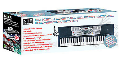 NJS 61 Key Full Size Electronic Keyboard, Sheet Music Stand, Headphones, Stool 3