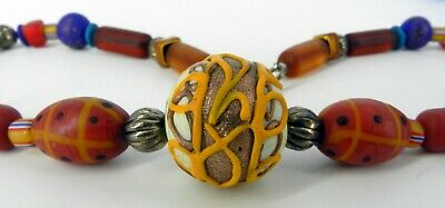 Gorgeous Glass Vintage African Trade Bead Necklace Hand Painted Decorated 22 249 99 Picclick