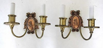 Two E. F. Caldwell Bronze Sconces With Winged Putti Tending to Fire! 5
