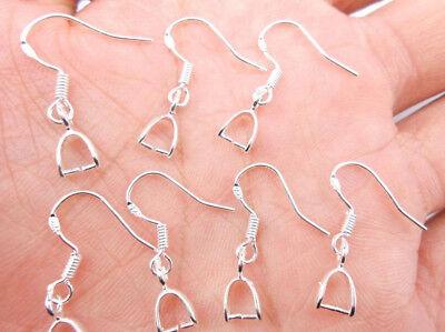 20PCS Jewelry Making Findings 925 Sterling Silver Pinch Bail Hook Earring Wire 3