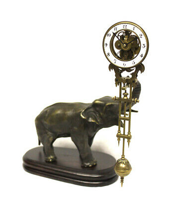 German Style Junghans Brass Elephant Swinging Clock with 8 Day Skeleton Movement 2