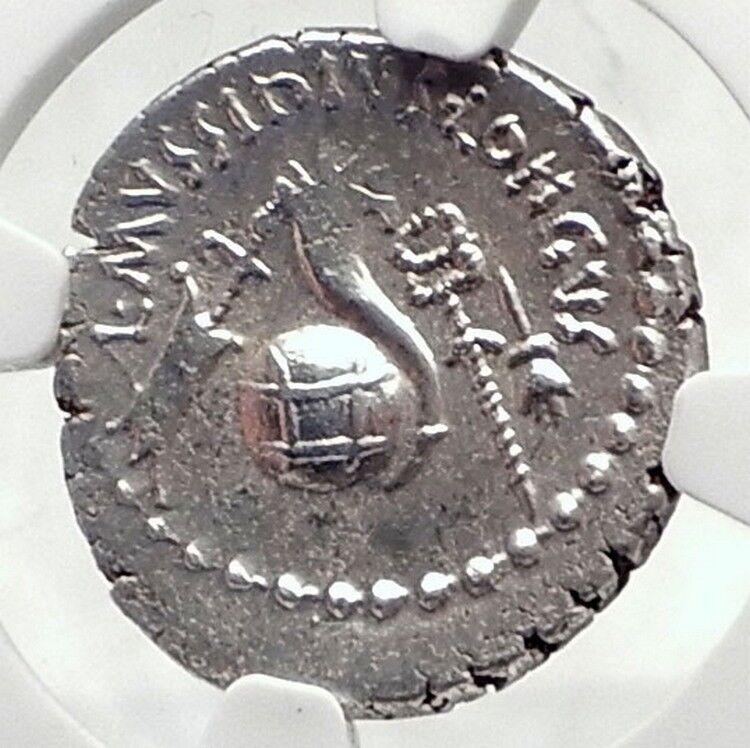 JULIUS CAESR Portrait 42BC Rome Authentic Ancient Silver Roman Coin NGC i72396 2
